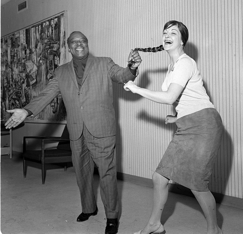 Band leader Count Basie and singer Annie Ross recording at Granada studios, April 1962