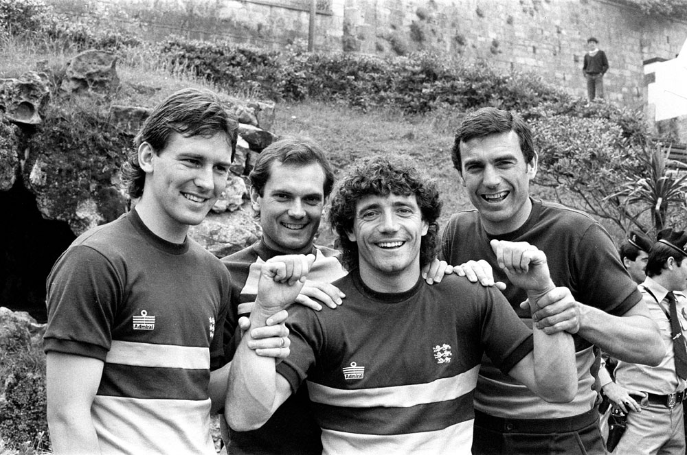United duo Bryan Robson and Ray Wilkins line up with Kevin Keegan and Trevor Brooking at the England team hotel in Spain, June 1982