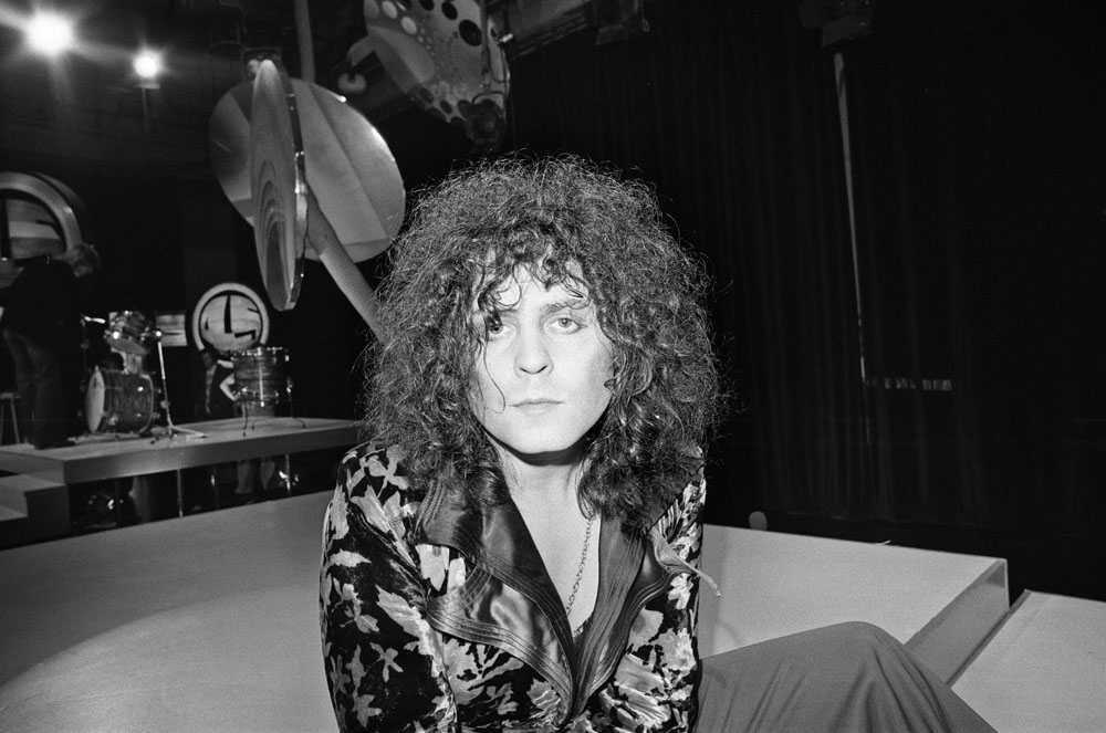 Marc Bolan rehearsing for the Granada TV show Rock On With 45, July 1975