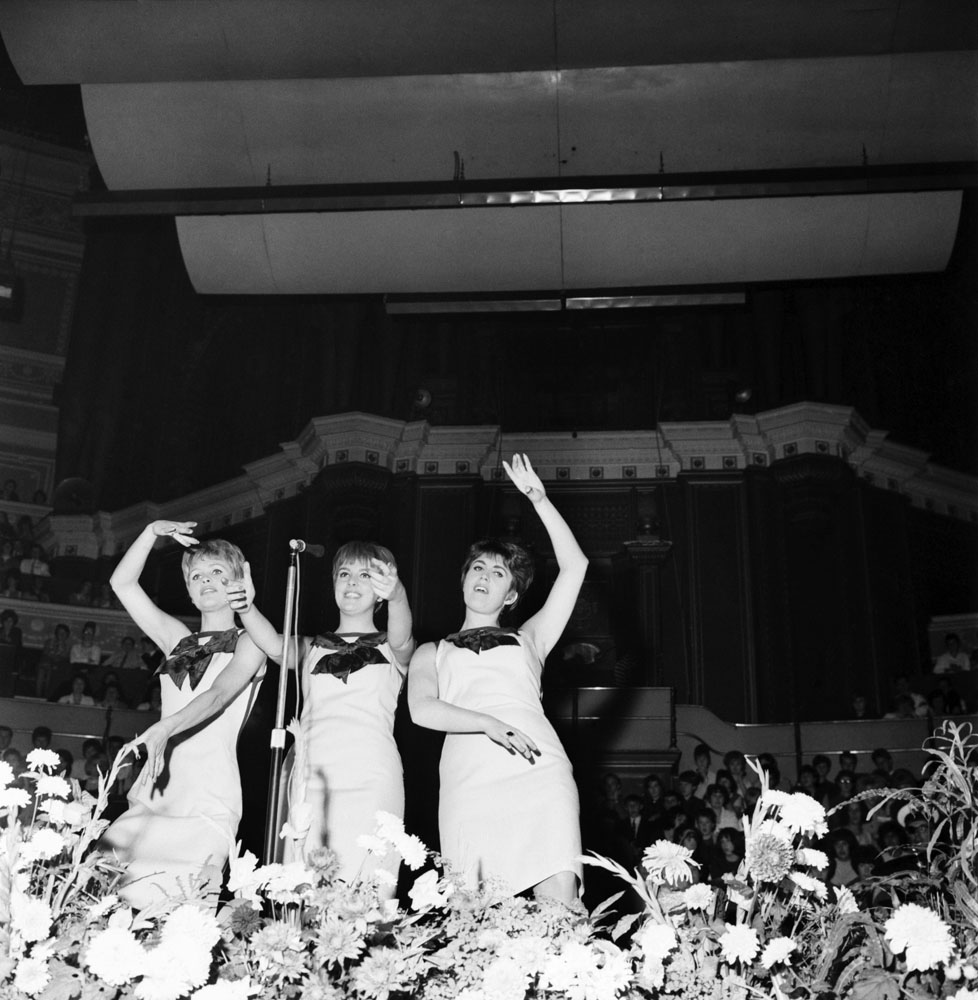 Merseyside trio the Vernons Girls perform at the Great Pop Prom in the Royal Albert Hall, September 1963