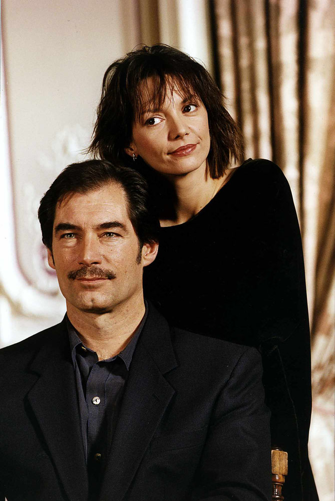 Joanne Whalley and Timothy Dalton who appeared together in the TV series Scarlett, January 1994