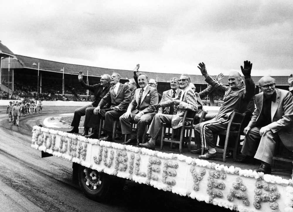Belle Vue riders of the past salute the crowd during the Golden Jubilee celebrations, July 1978