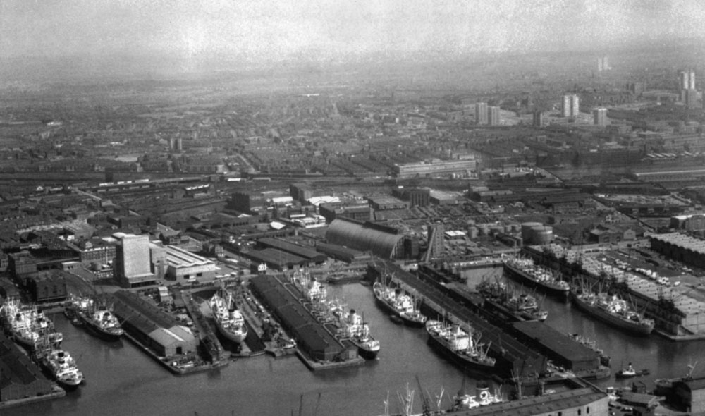 Docks at a standstill in Liverpool on the first day of the national seamen's strike, May 1966