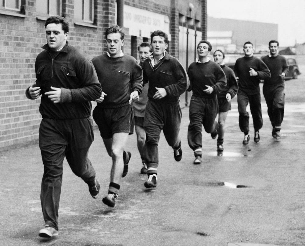 United's Busby Babes back in training at Old Trafford, July 1957