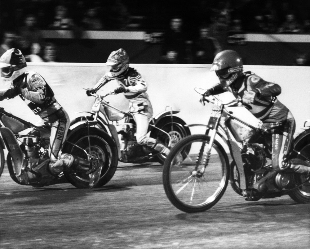 Speedway action as the Belle Vue Aces take on their junior team - the Colts, March 1984
