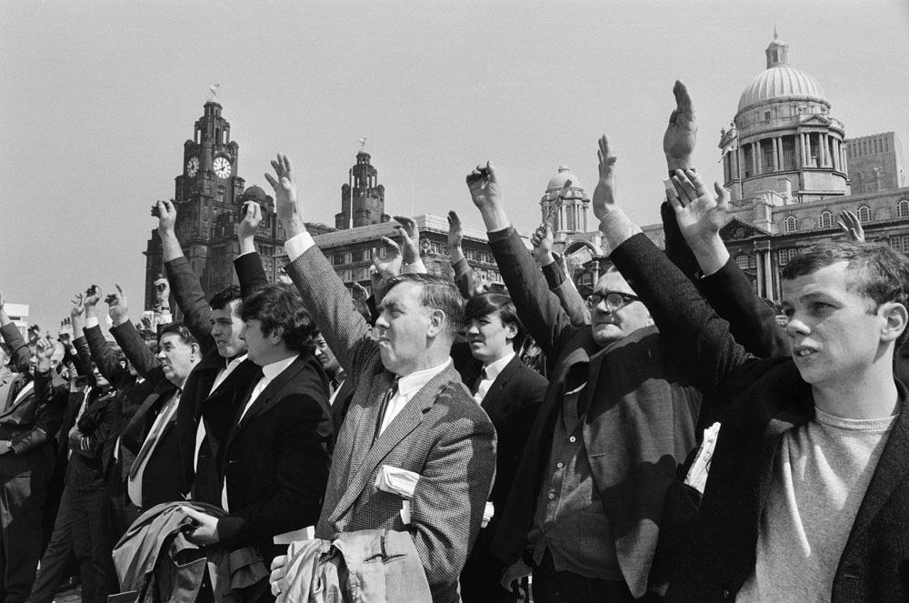 Voting takes place at a mass meeting of the National Union of Seamen (Mersey Area) at Pier Head, May 1966