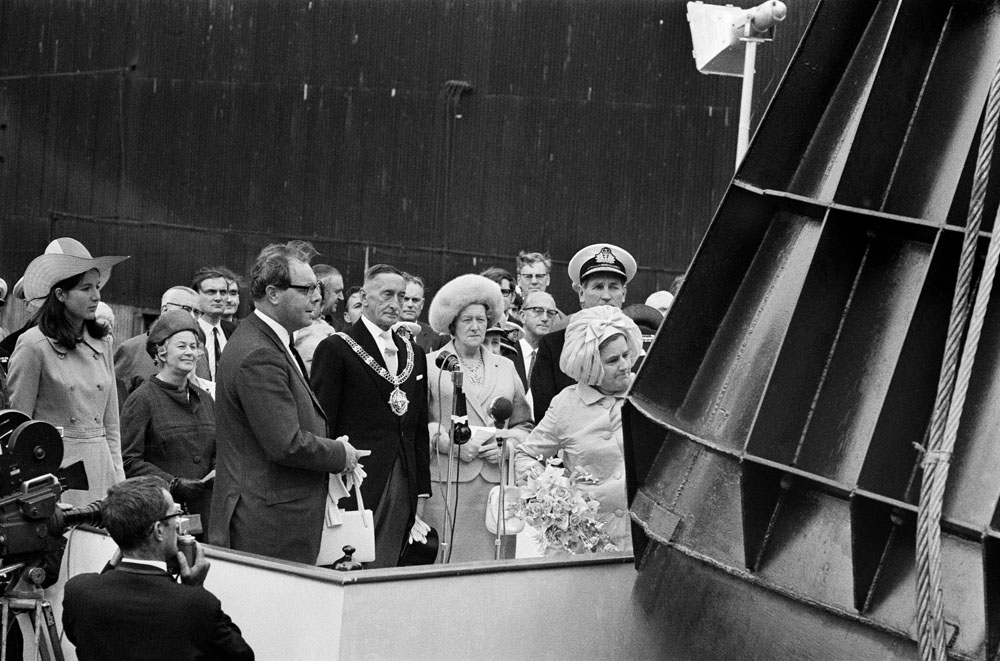 Nuclear submarine HMS Conqueror is launched at the Cammell Laird shipyards, August 1969