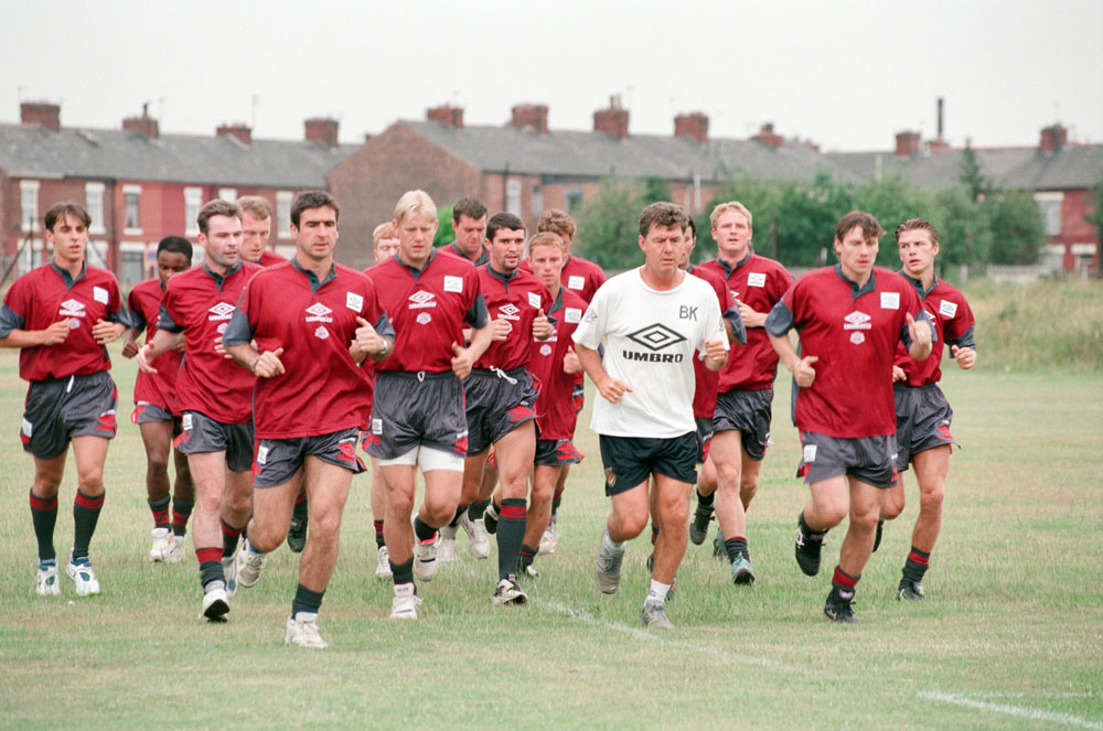 First day back in training for the famous faces of United's double-winning squad, July 1995
