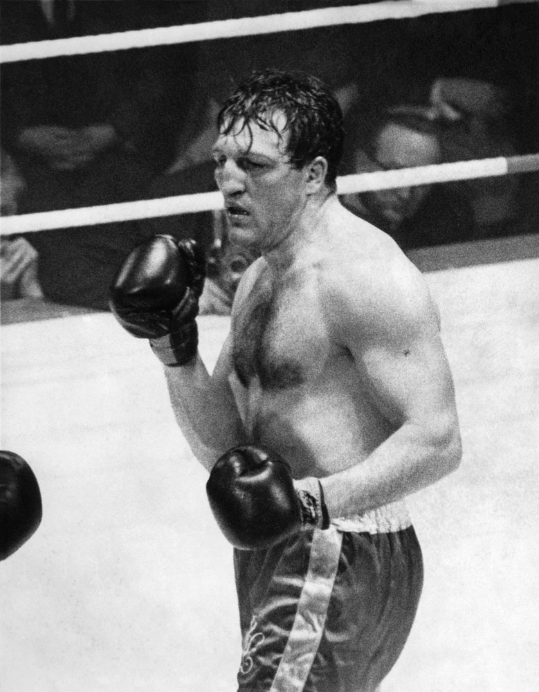 Brian London pictured during his bout with Henry Cooper at the King's Hall, February 1964