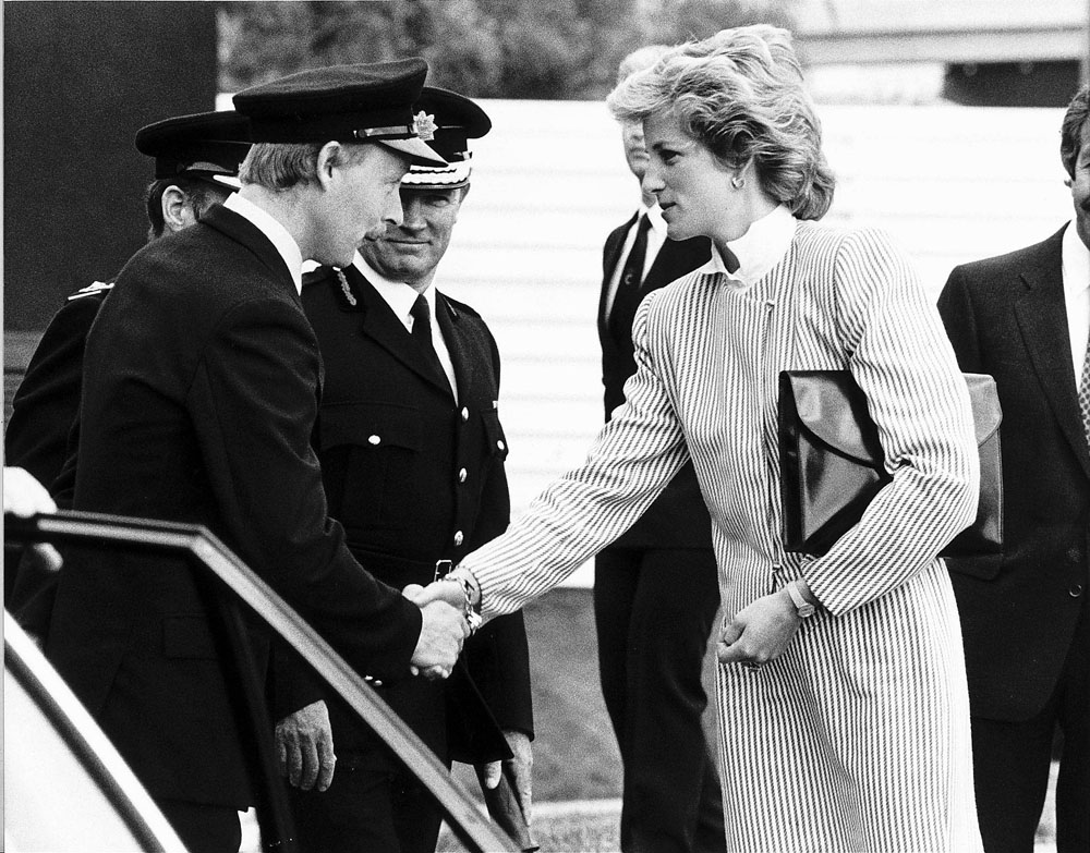 Bravery saluted. Princess Diana meets the fire crew who fought the blaze on the British Airtours Boeing 737 that aborted its take-off at Manchester Airport, August 1985