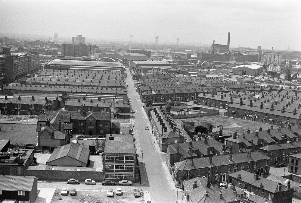 Salford from the air with Old Trafford in the distance, July 1974