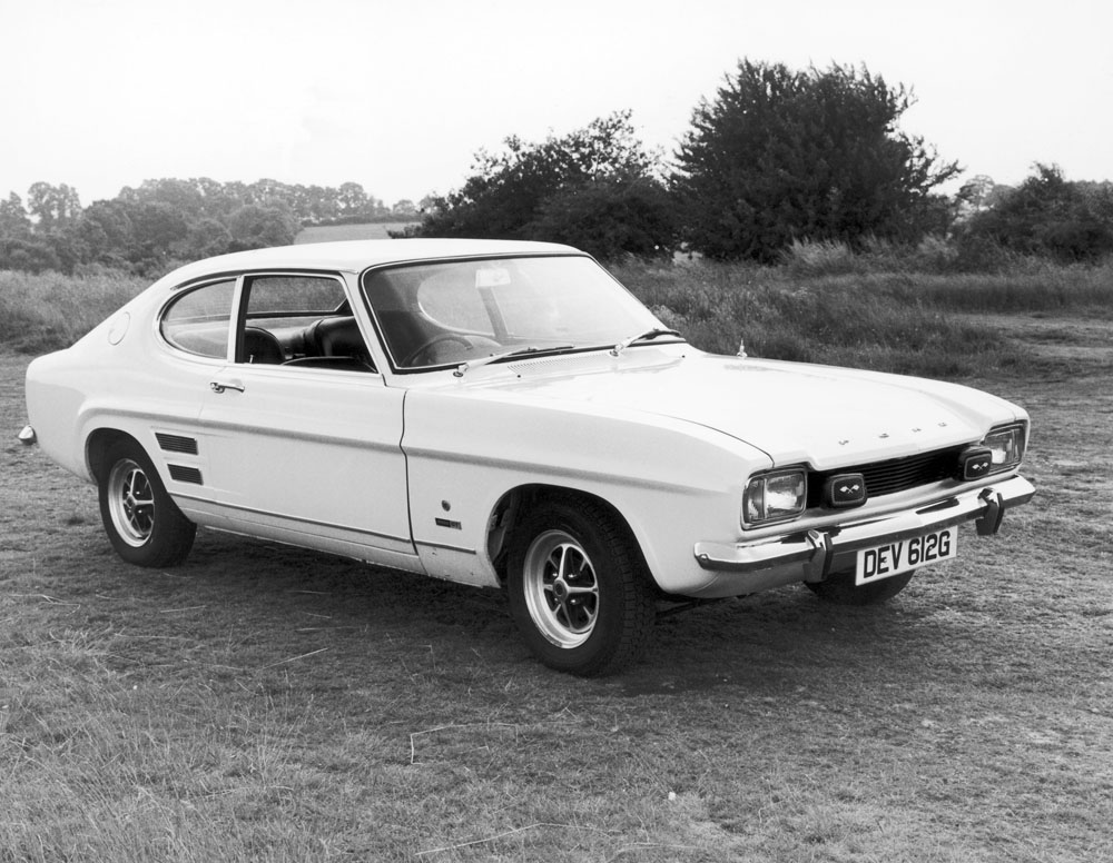 The distinctive exterior of the Mk1 Ford Capri in production from December 1968