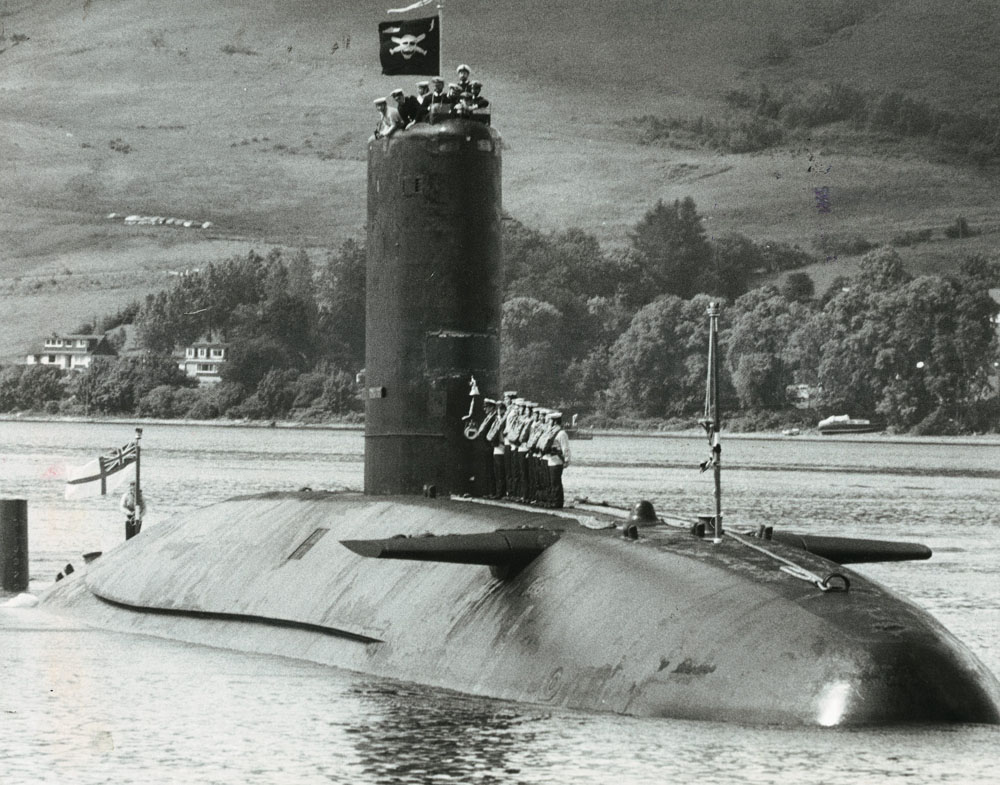 HMS Conqueror sails back to Faslane after sinking the Admiral Belgrano, July 1982