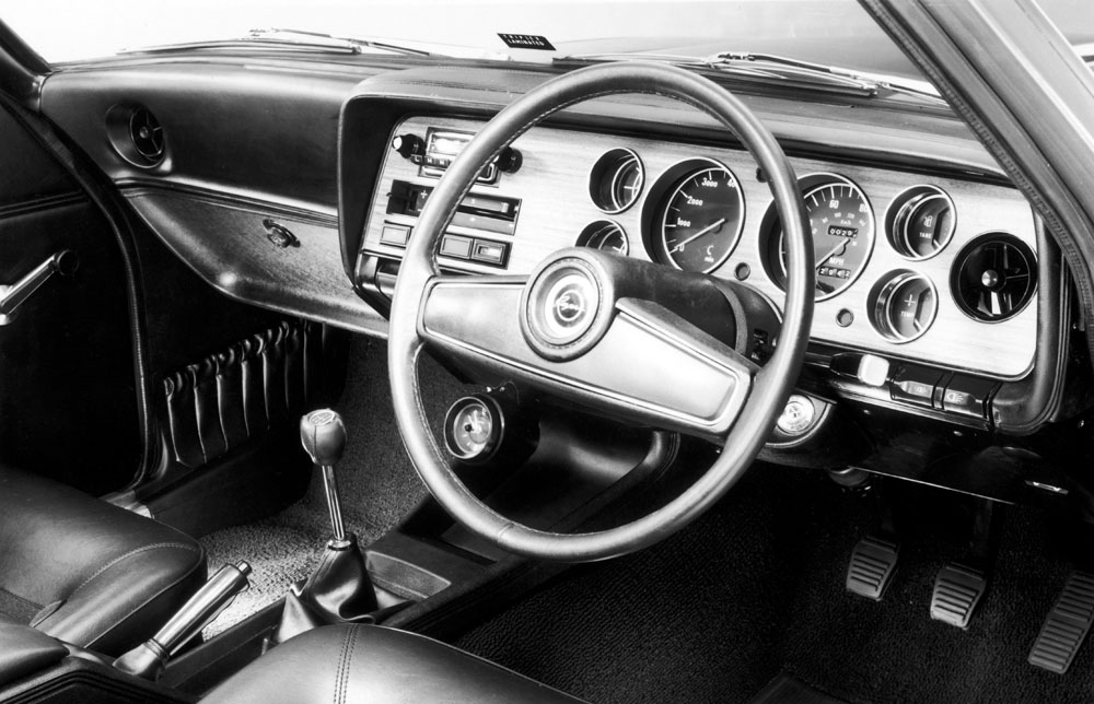 An Interior shot of the Ford Capri GXL showing the redesigned dashboard and steering wheel
