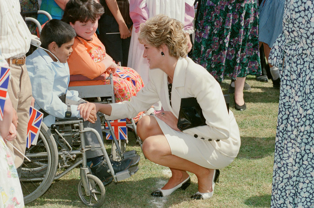 Children in Altrincham are delighted to meet Princess Diana, July 1992
