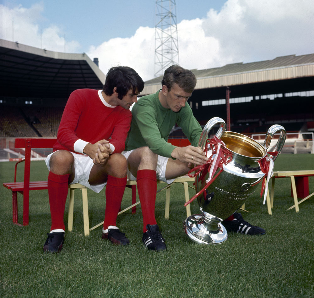 George Best and Alex Stepney admire the European Cup, July 1968
