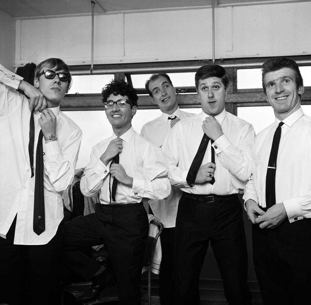 Freddie and the Dreamers get ready to go on stage at Great Yarmouth, September 1963
