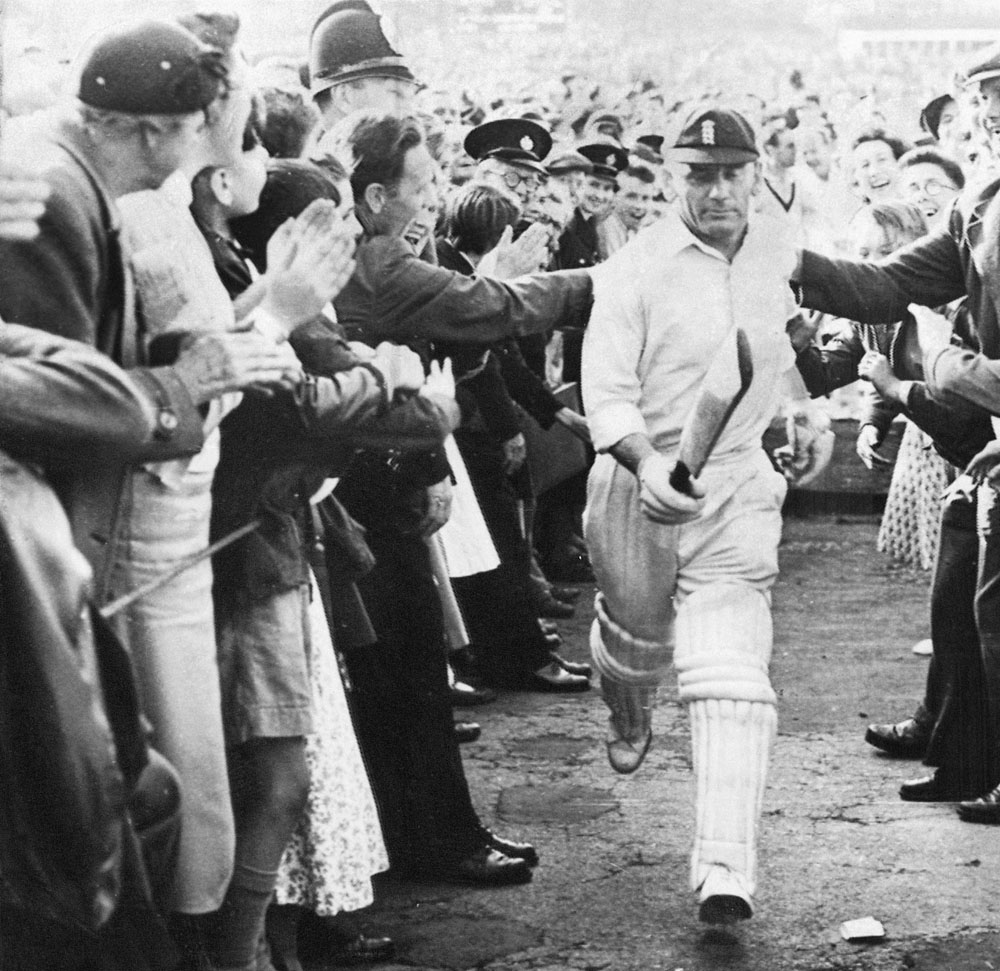 Cyril Washbrook leaves the field at Headingley after scoring 98 for England against Australia in the Ashes, July 1956