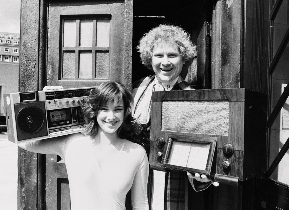 Colin Baker as Doctor Who with companion Peri Brown (Nicola Bryant), June 1985