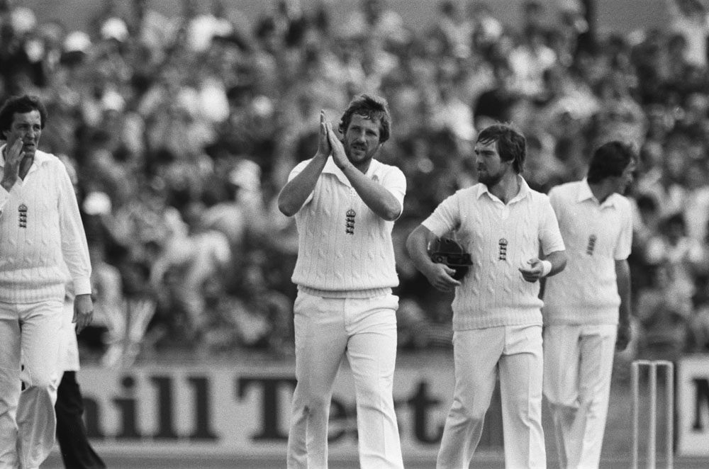 Australia's John Dyson is caught by Ian Botham for 0 off the bowling of Bob Willis, August 1981