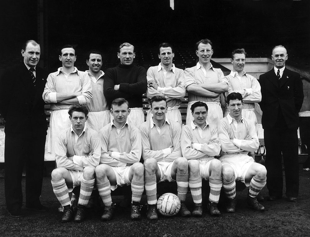 Manager Les McDowall, far left, with City's team in March 1955. Seated, from left, are Paddy Fagan, Joe Hayes, Don Revie, Bobby Johnstone and Roy Clarke. Standing are Ken Barnes, Roy Paul, Bert Trautmann, Jimmy Meadows, Dave Ewing and Roy Little with trainer Laurie Barnett