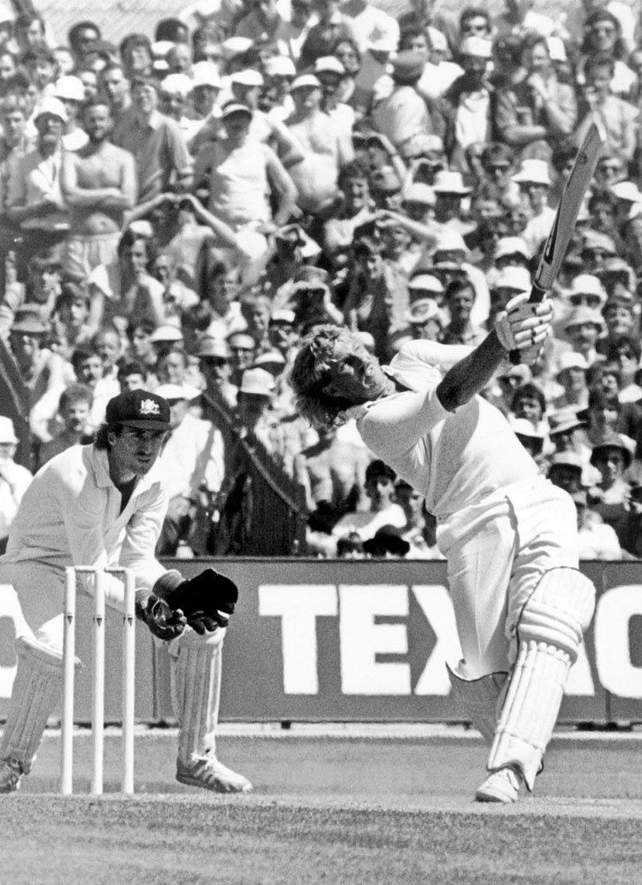 A flamboyant Ian Botham in action in the one-day international against Australia, May 1985
