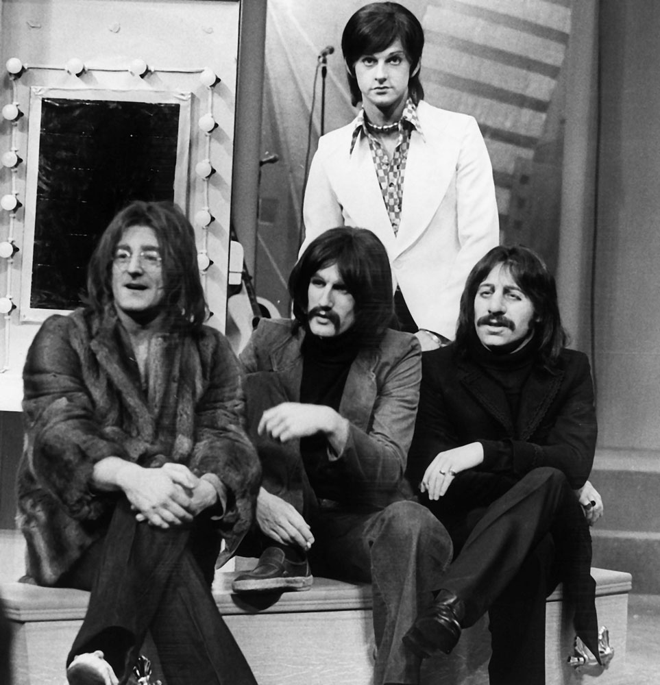 The cast of Willy Russell's musical John, Paul, George, Ringo and Bert in 1970s gear, June 1974