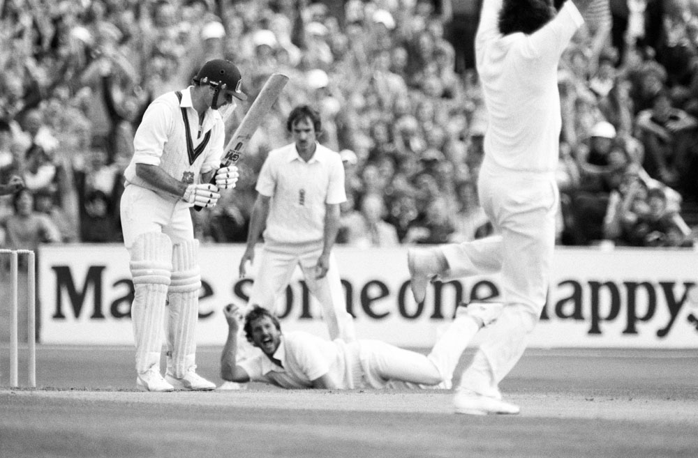 Celebrations at Old Trafford as Australian batsman John Dyson is out for 0, August 1981