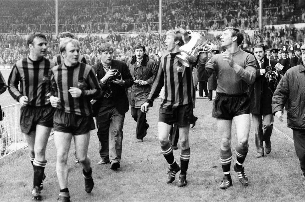 Colin Bell and Harry Dowd with the silverware. 1969 FA Cup Final.