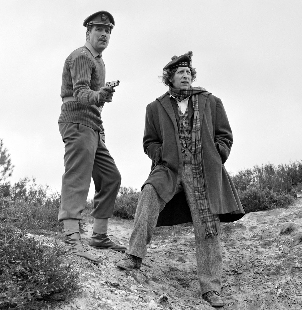 Nicholas Courtney as Brigadier Lethbridge Stewart with Tom Baker as Doctor Who, January 1975