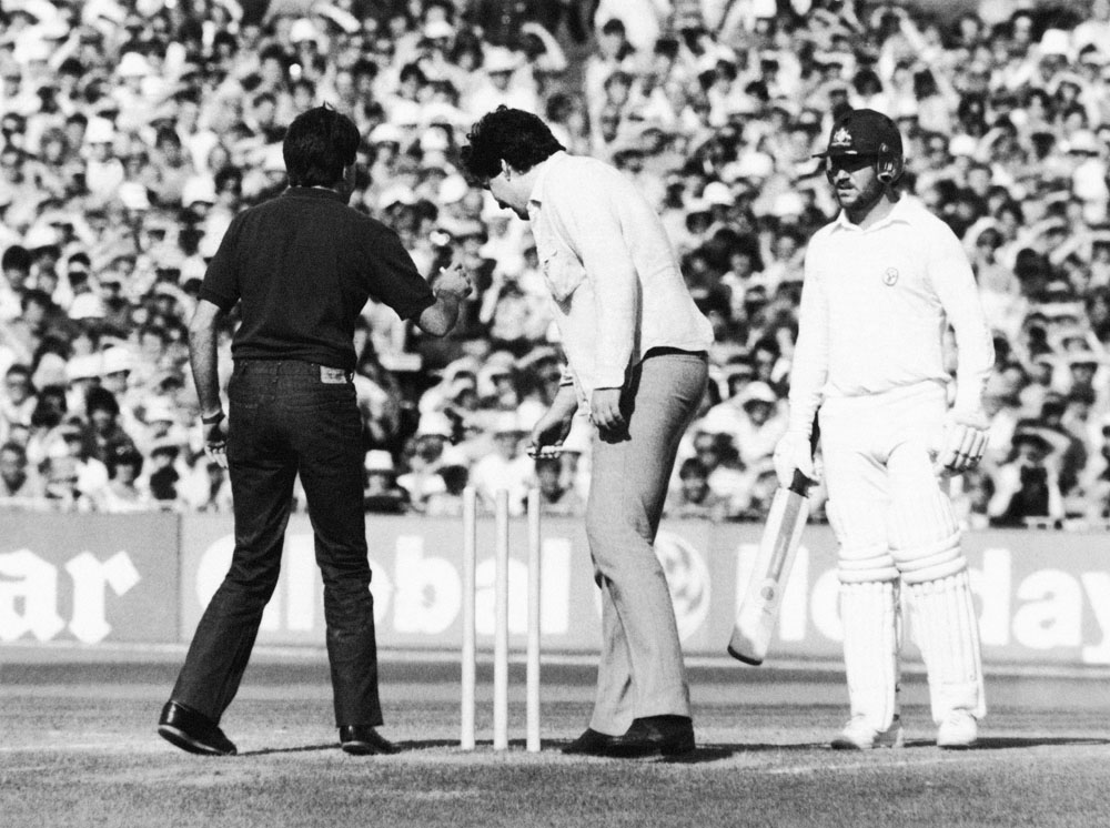 Alan Border stands his ground as fans invade the wicket at Old Trafford, August 1981