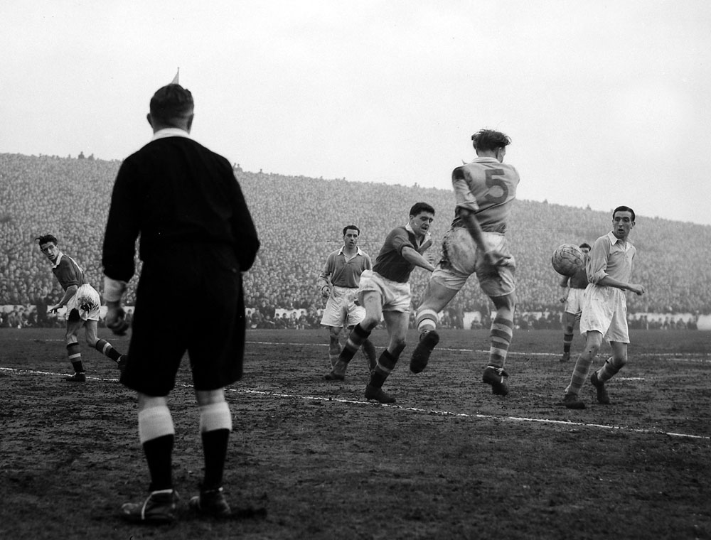 Action from City's 2-0 victory over United in an FA Cup tie at Maine Road, January 1955