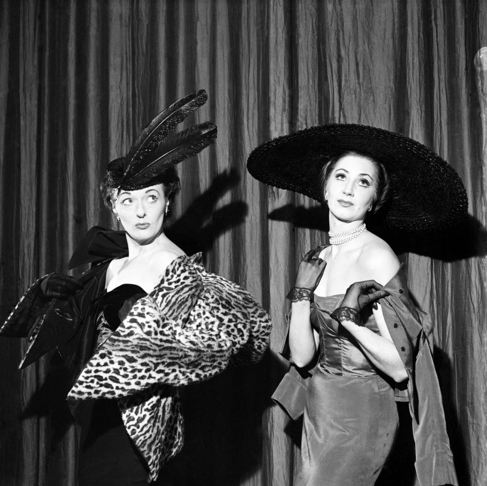 Liverpool comedienne Betty Marsden, right, with Moyra Fraser in the musical revue Airs on a Shoestring, April 1953