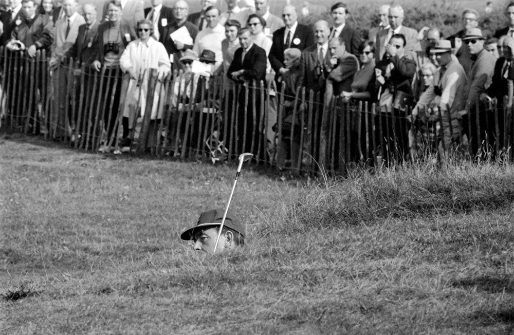 Christy O'Connor Snr plays out of a bunker in the 1969 Ryder Cup at Royal Birkdale