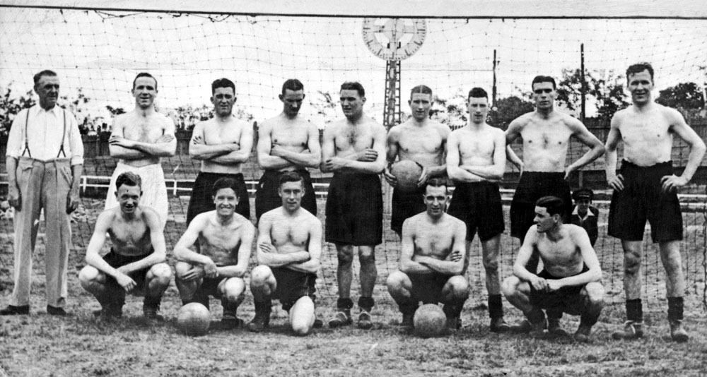 Liverpool played bare-chested during their 1936 end-of-season tour of the Balkans. Matt Busby is standing second left with Ted Savage fourth left