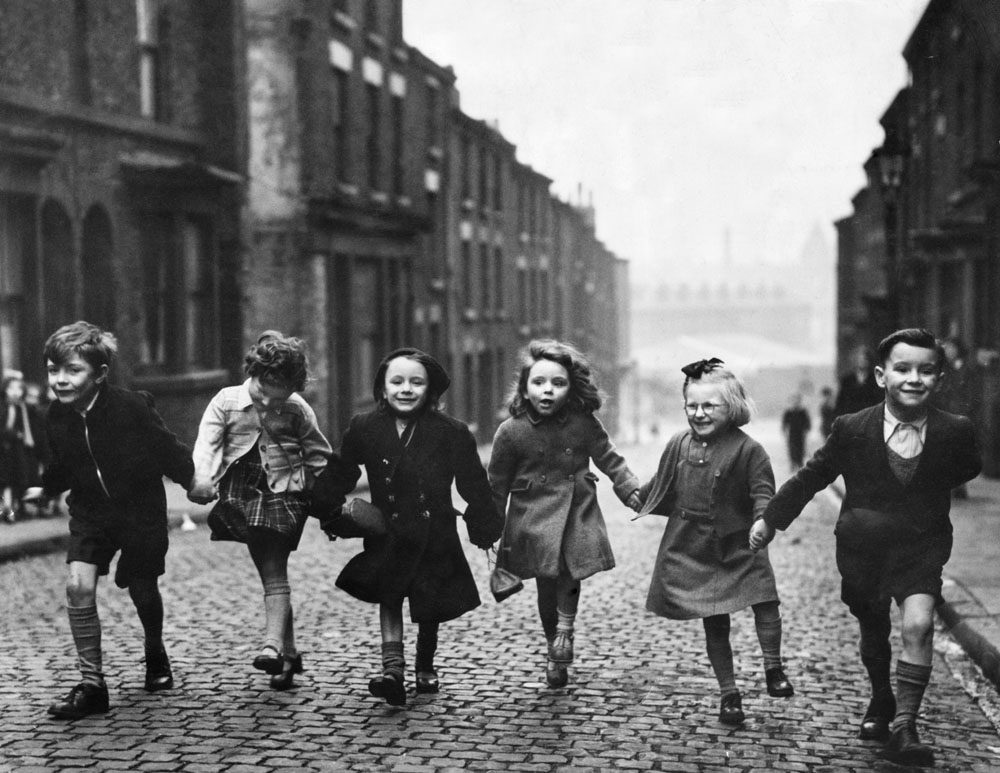 Children hold hands in Bengel Street, Liverpool, on the eve of war, September 1939