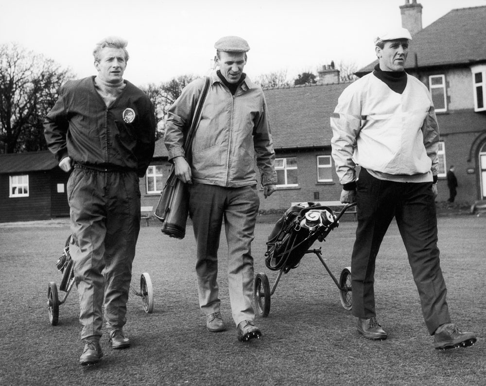 Denis Law, Paddy Crerand and Maurice Setters on the golf course, November 1964