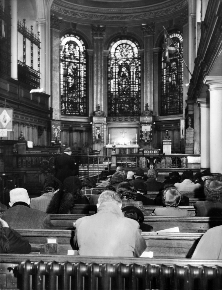 Prayers for the D-Day landings at St Anne's Church, Manchester, June 1944