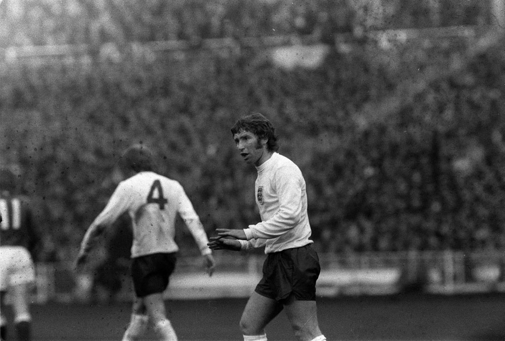 Alan Ball calms things down after Germany score at Wembley, April 1972