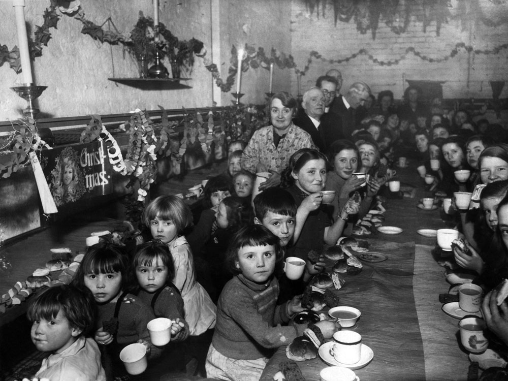 St Alban's School pupils hold their Christmas party in an air-raid shelter, December 1941