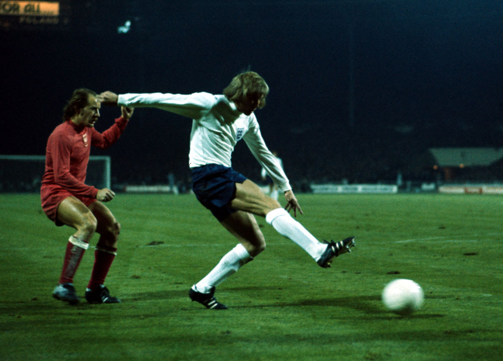 Colin Bell stretches for the ball in the fateful 1-1 draw with Poland, October 1973