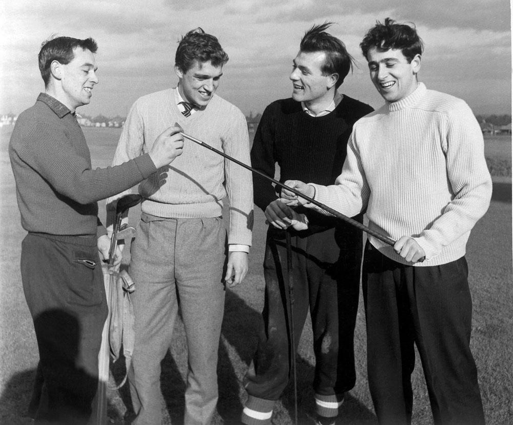 United players at the Norbreck course, January 1958