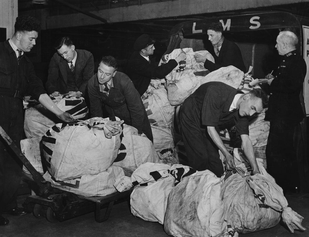Mailbags full of coupons arrive at Unity Football Pools in Liverpool, December 1939