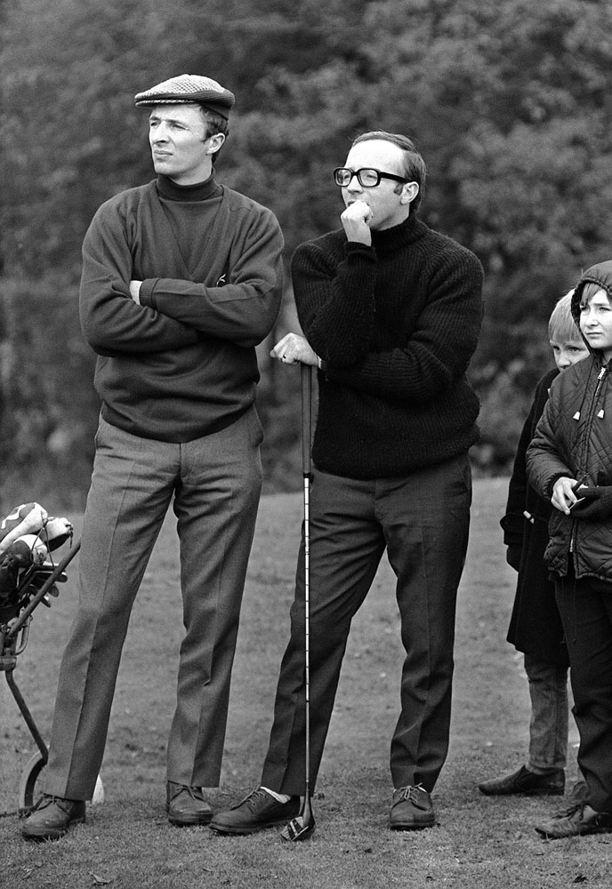 Football rivals Mike Summerbee and Nobby Stiles team up for golf, November 1968