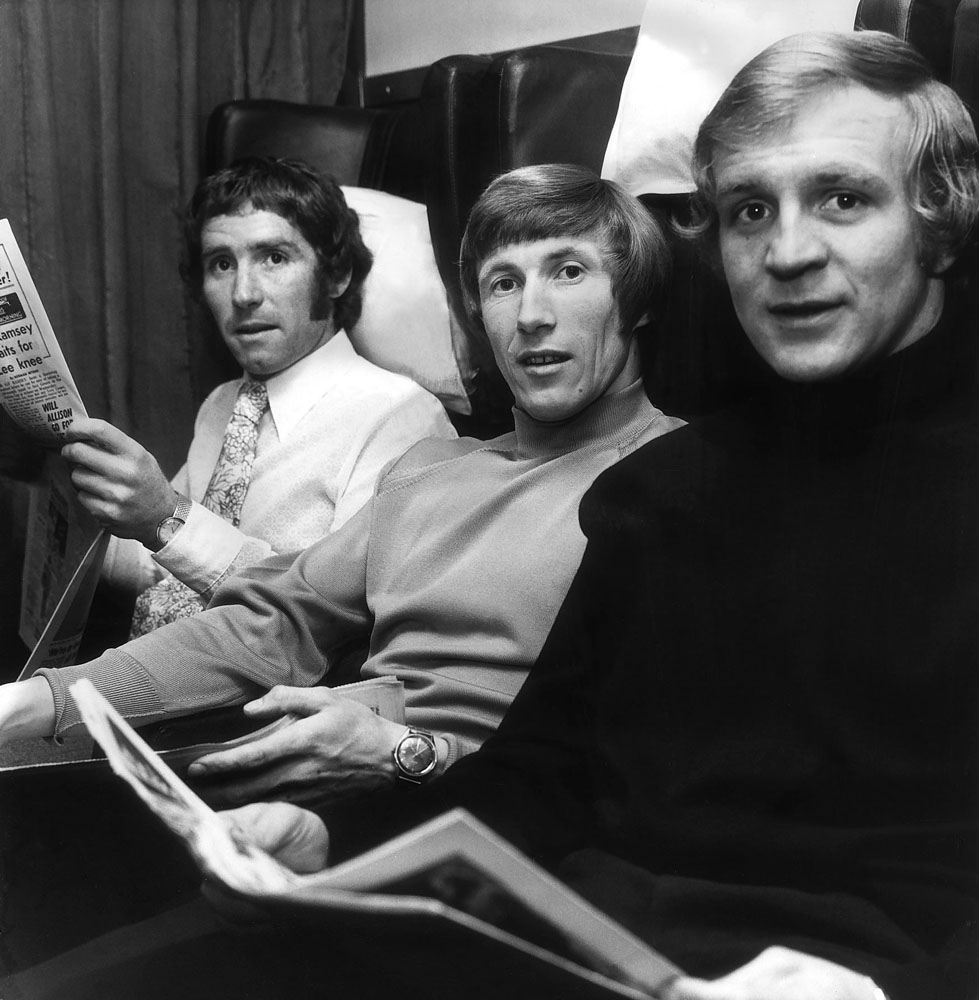 International trio Alan Ball, Colin Bell and Francis Lee take the train, May 1971