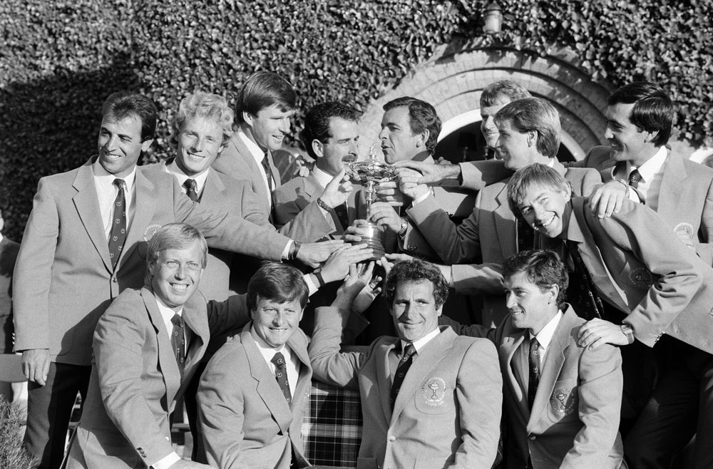 Europe celebrate ending 28 years of American dominance at the Ryder Cup, September 1985