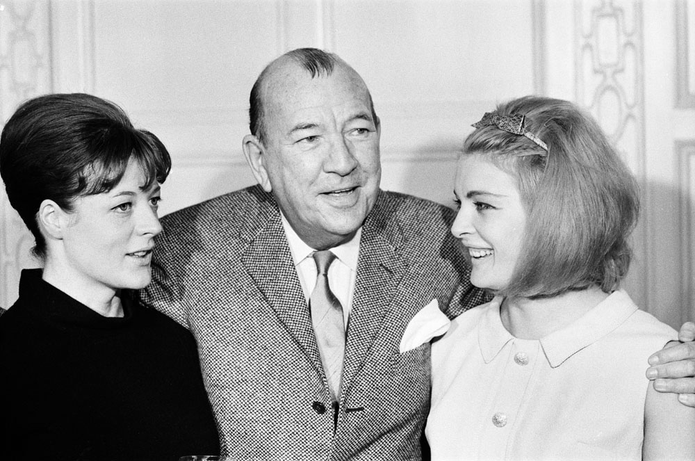 Playwright Noel Coward with Maggie Smith, left, and Jan Waters, October 1964