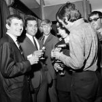 Colin Bell, centre, at the opening of George Best's new Manchester boutique, September 1967
