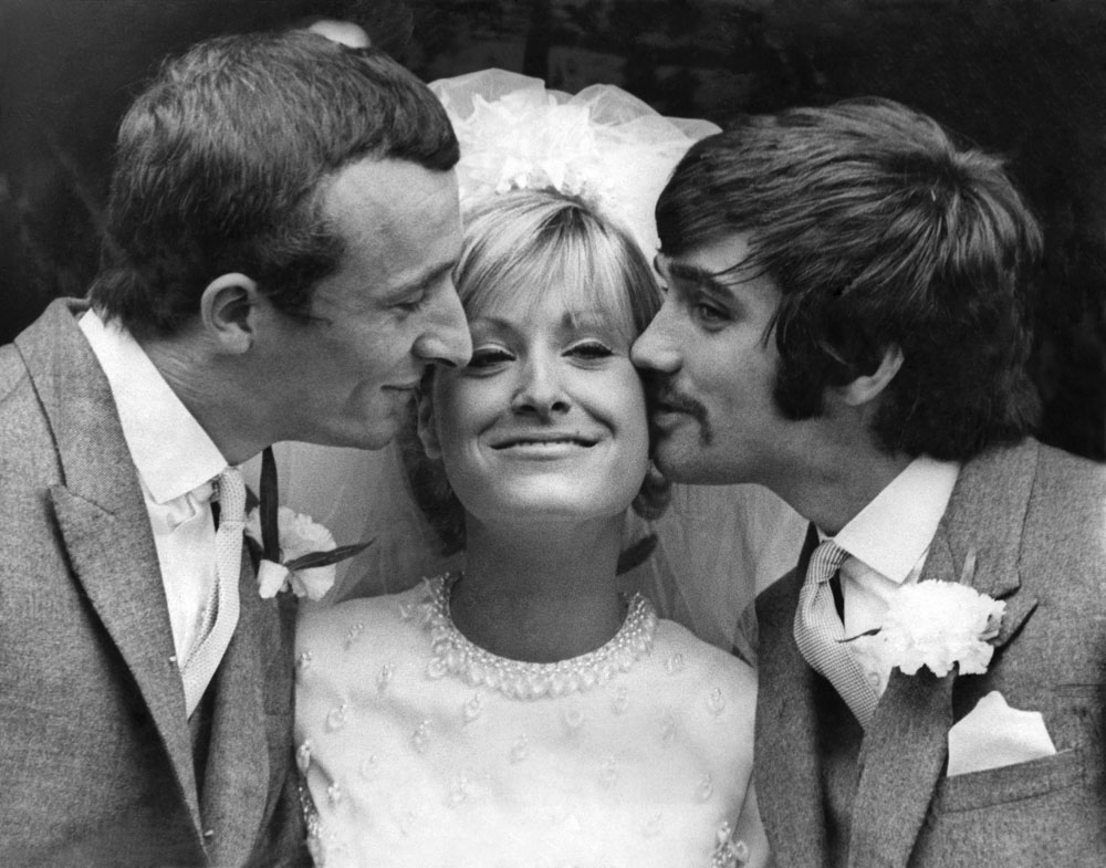 Best man George Best at Mike Summerbee's wedding to Tina Schofield, September 1968