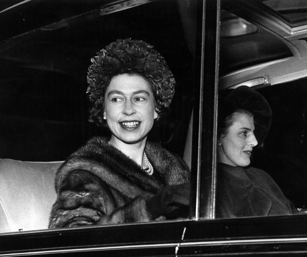 A striking shot of the Queen as she leaves Liverpool Town Hall, December 1962
